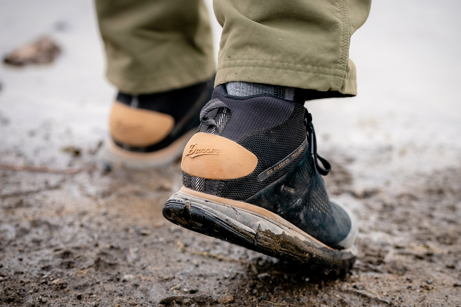 The heel counter on the Filson x Danner Trail 2650 Hiking Boots