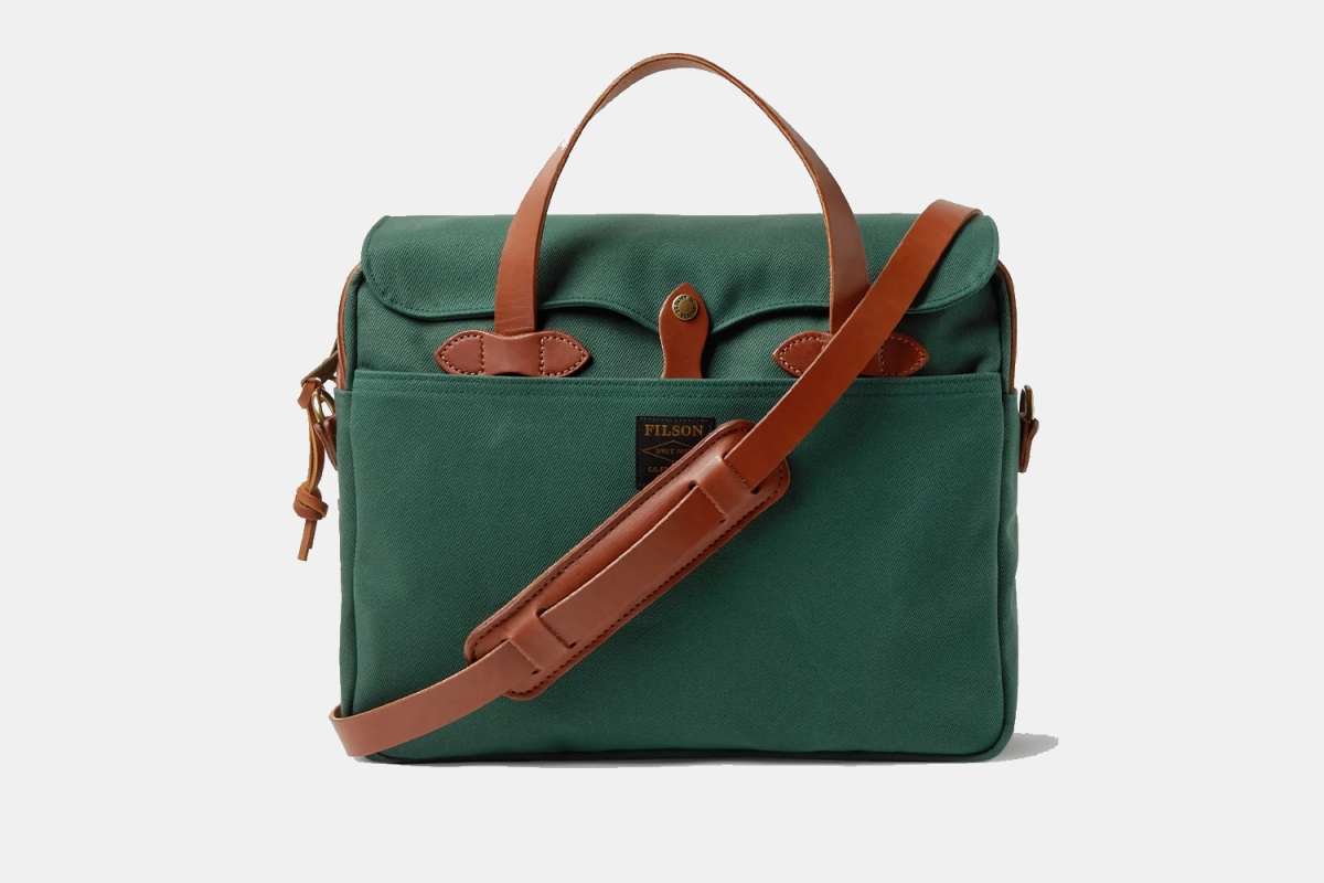 Filson limited-edition rugged twill briefcase in forest green