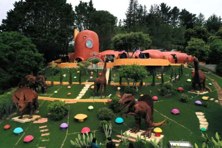 A view of the so-called Flintstone's House on April 11, 2019 in Hillsborough, California. A legal battle between the owner and the city just wrapped up.