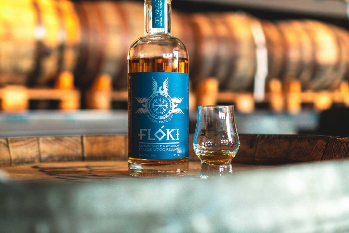a bottle of the Icelandic Floki whisky in its warehouse