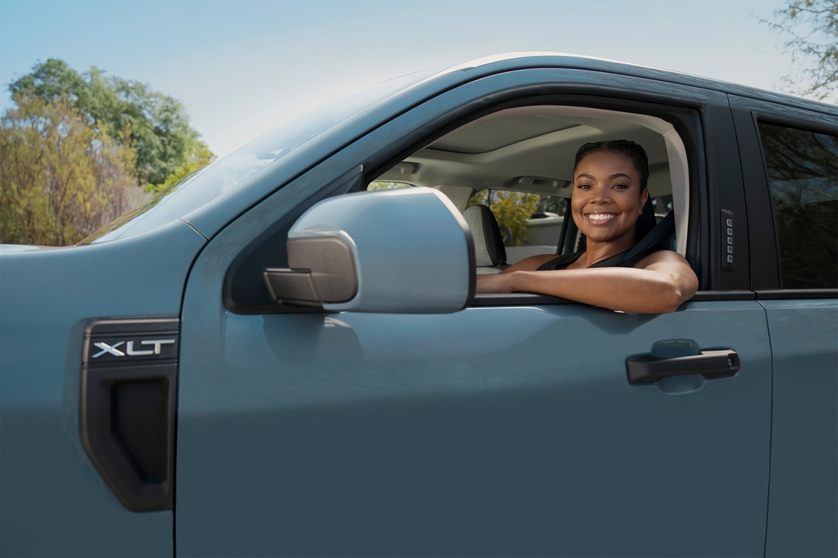 Actress Gabrielle Union driving the new 2022 Ford Maverick pickup truck