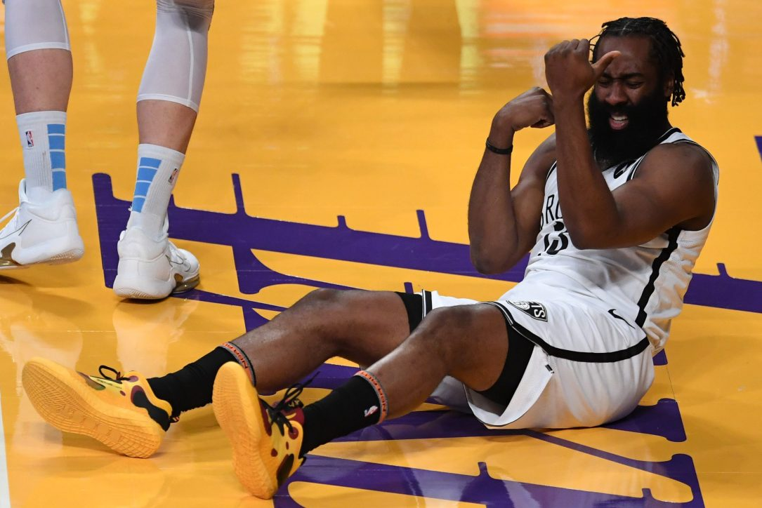 James Harden of the Brooklyn Nets reacts after a foul