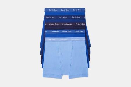 Five pairs of Calvin Klein men's boxer briefs in blue