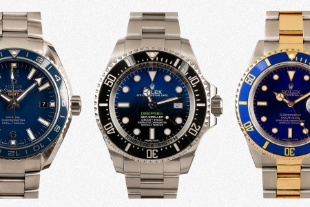 Three watches from Rolex and Omega available at Huckberry