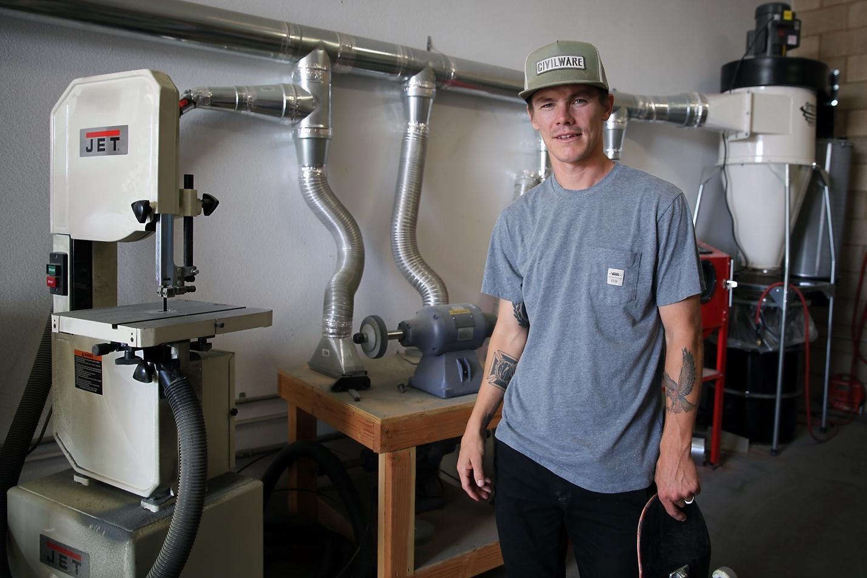 Geoff Rowley inside his CIVILWARE workshop