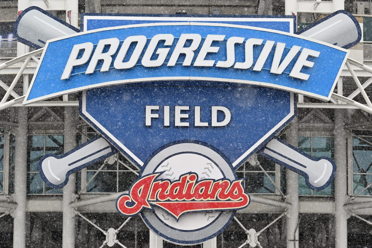 The Indians logo seen at Progressive Field stadium in Cleveland.