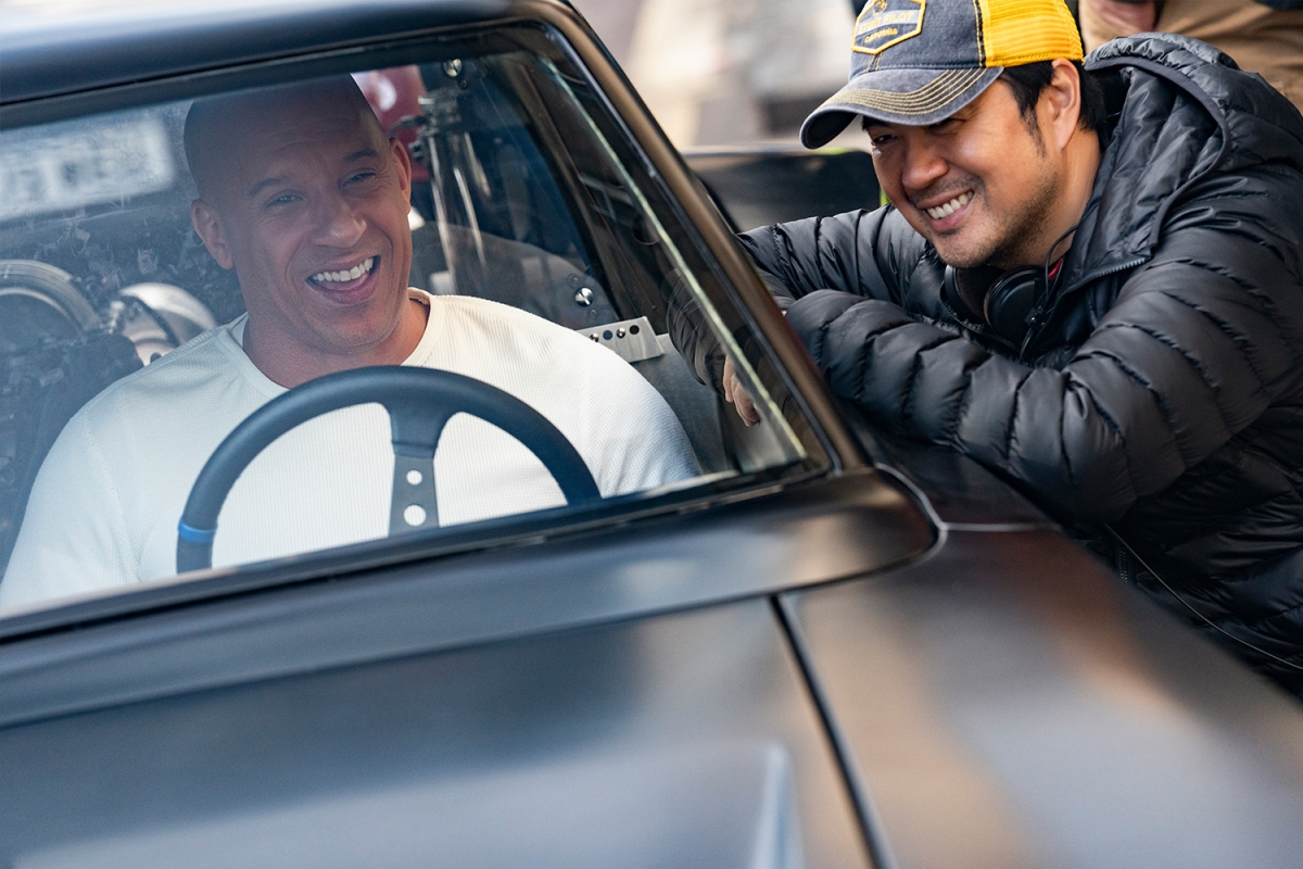 Vin Diesel as Dom and co-writer and director Justin Lin on the set of F9.