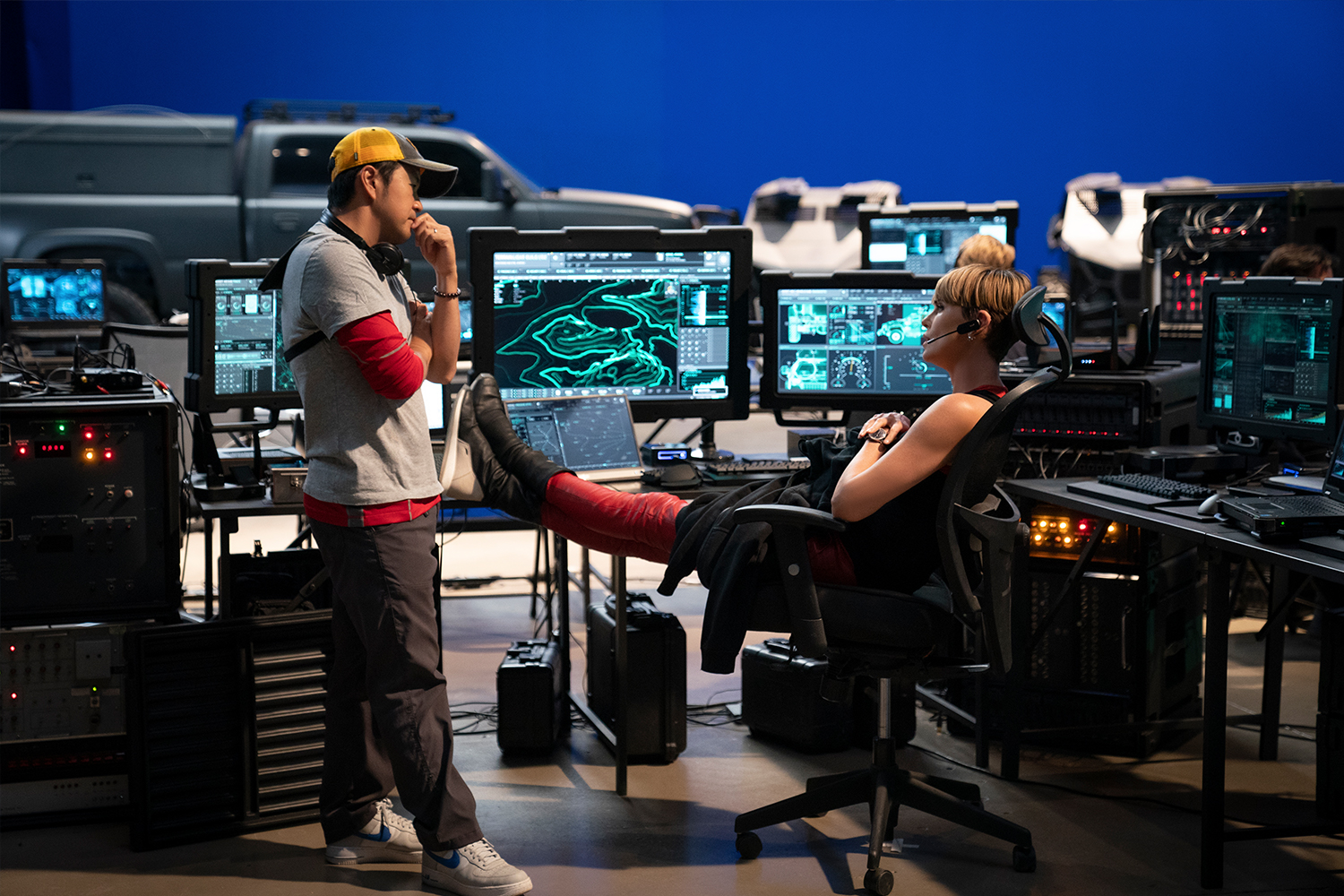 Director Justin Lin and Charlize Theron on the set of F9.