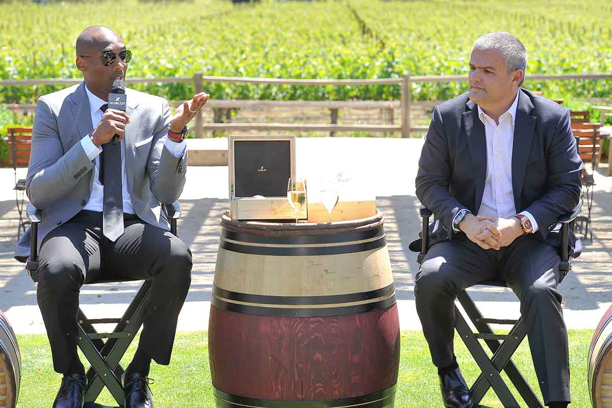 Kobe Bryant and CEO of Hublot Ricardo Guadalupe attent the press conference at the Hublot celebration of their new timepiece at Napa Valley Reserve on April 29, 2015 in St Helena, California