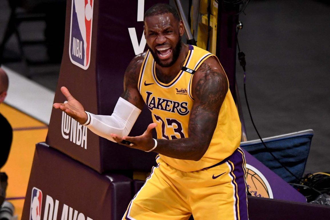 LeBron James of the Lakers reacts to referee Scott Foster