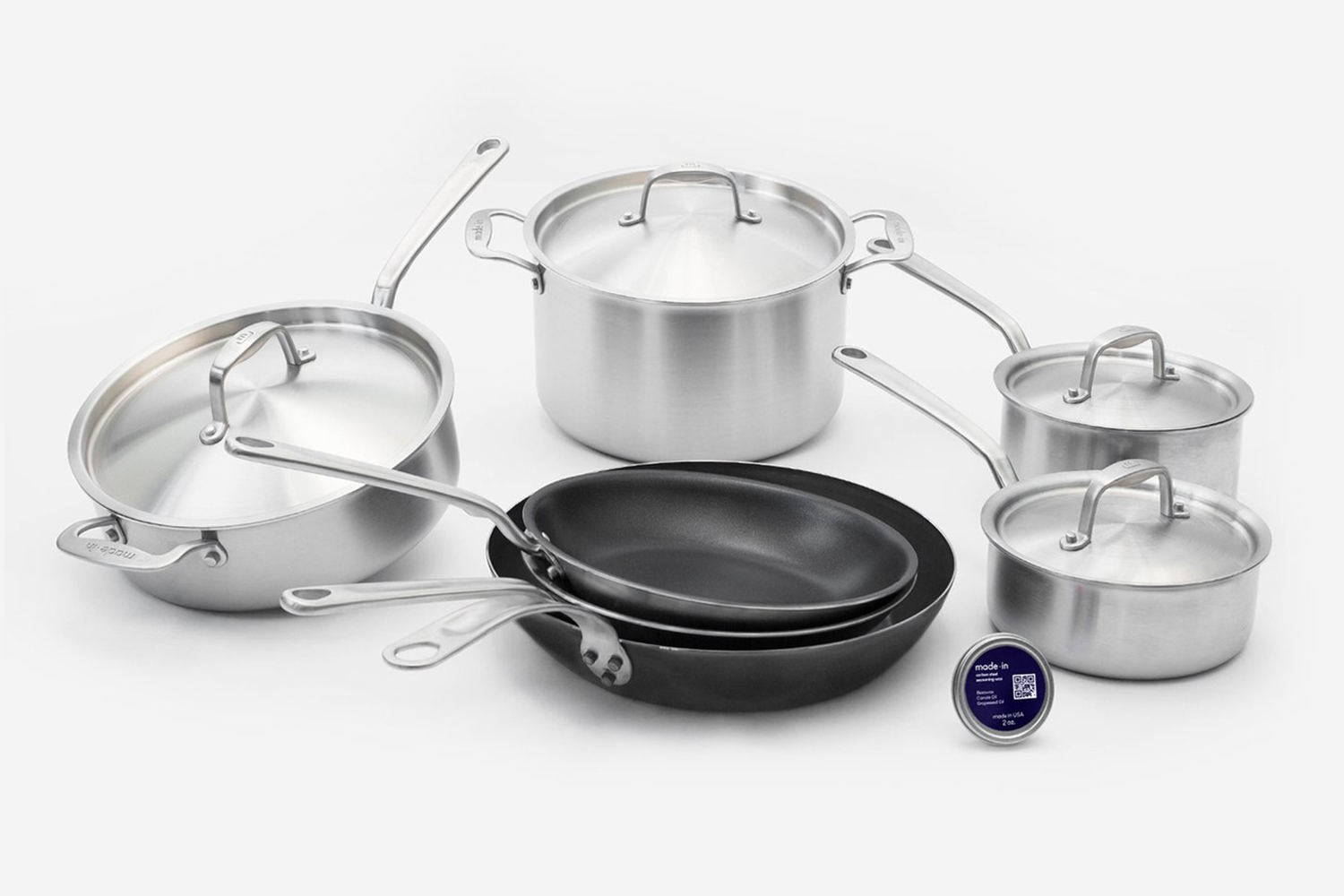 The Sous Chef Cookware Set from Made In, which includes stainless steel, blue carbon steel and nonstick pots and pans