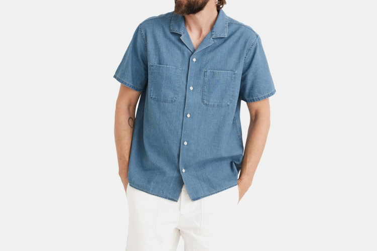 The men's Ticking Stripe Indigo Easy Camp Shirt from Madewell, which is currently on sale at Nordstrom