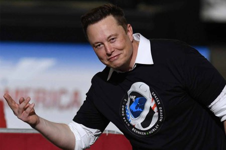 SpaceX founder Elon Musk gestures to the audience after being recognized by U.S. President Donald Trump at NASA's Vehicle Assembly Building following the successful launch of a Falcon 9 rocket with the Crew Dragon spacecraft from pad 39A at the Kennedy Space Center. NASA astronauts Doug Hurley and Bob Behnken will rendezvous and dock with the International Space Station, becoming the first people to launch into space from American soil since the end of the Space Shuttle program in 2011.
