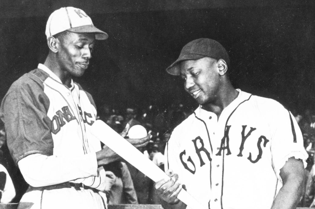 Pro baseball players Satchel Paige and Josh Gibson of the Negro Leagues