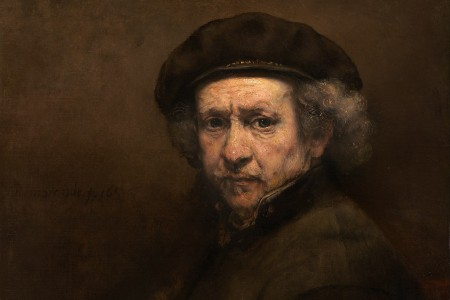 """Dutch master painter Rembrandt van Rijn in his work """"Self-Portrait with Beret and Turned-Up Collar"""""""