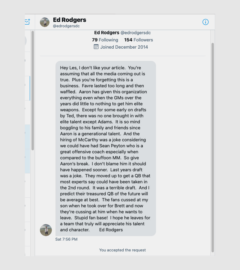 a twitter message from ed rodgers @edrodgersdc