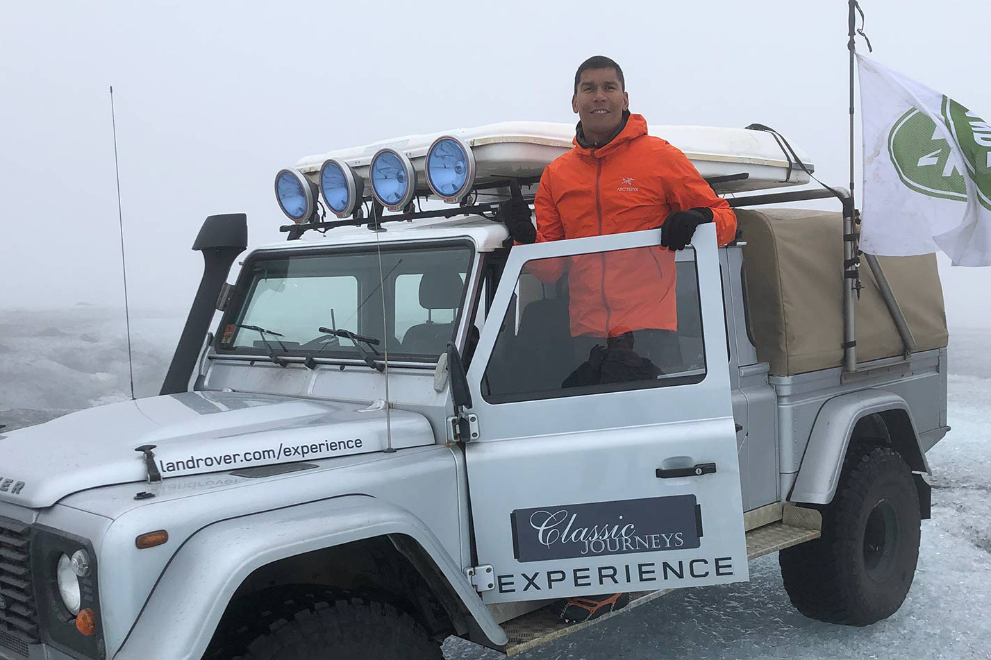 Aboard a Land Rover in the rural expanses of Iceland