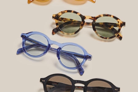 A variety of sunglasses from Sabah, a Turkish slip-on footwear brand that we love, arranged on a table
