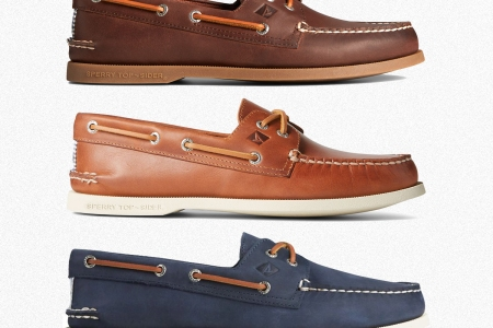 Three pairs of Sperry Authentic Original Top-Sider boat shoes in brown and blue leather