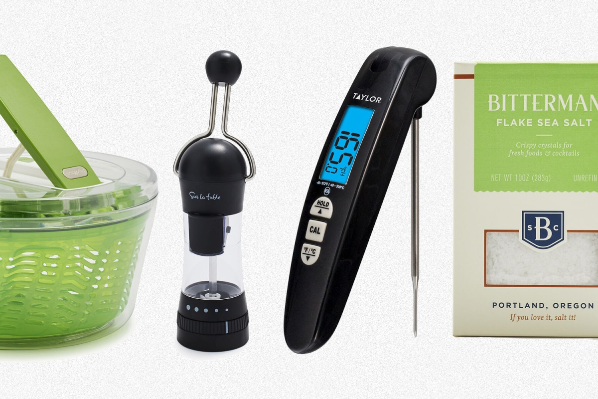 A salad spinner, ratchet mill, meat thermometer and salt from Sur La Table
