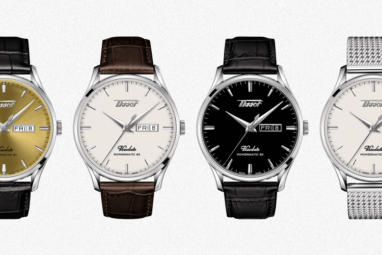 Four versions of the Tissot Visodate Heritage Automatic watch