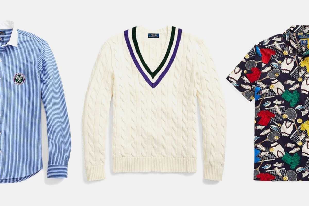 A button-down, cable-knit sweater and short-sleeve shirt from the new Wimbledon x Polo Ralph Lauren collection
