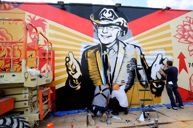 Shepard Fairey's Mural of Tony Goldman in Miami, Florida
