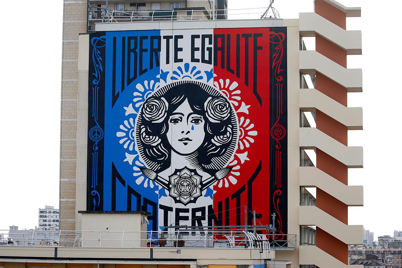 "Shepard Fairey's ""Marianne"" mural in Paris, France"