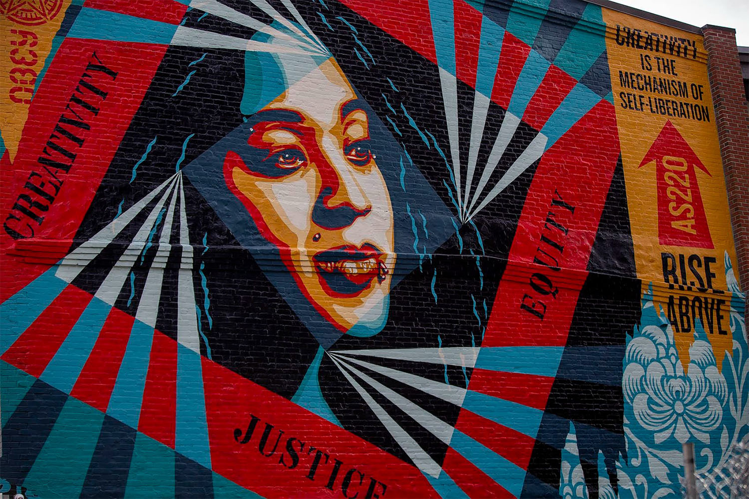 """Shepard Fairey's """"Creativity, Equity, Justice"""" mural in Providence, Rhode Island"""