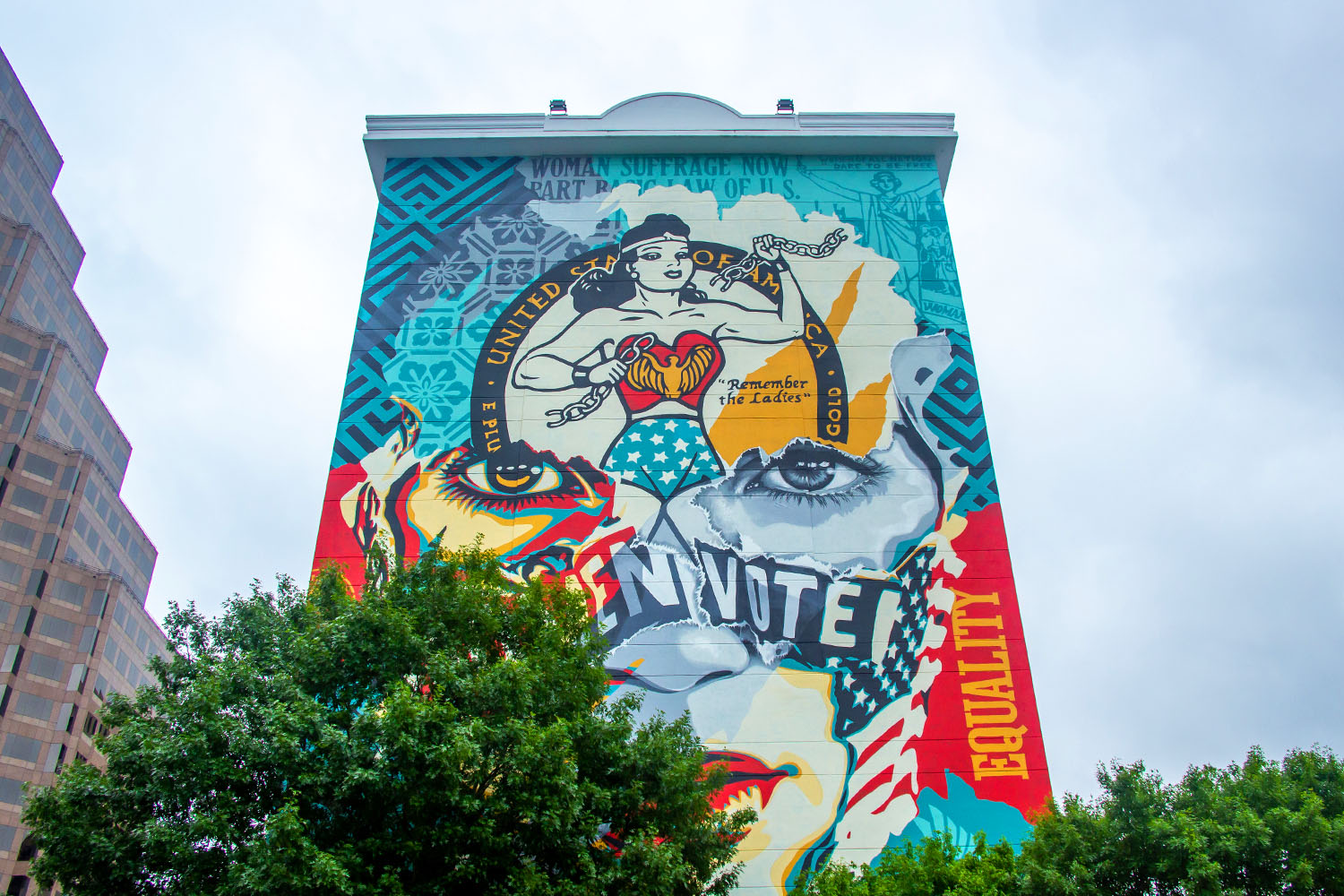 """Shepard Fairey's mural """"The Beauty of Liberty and Equality"""" in Austin, Texas"""