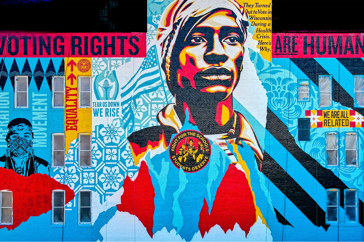 """Shepard Fairey's mural """"Voting Rights Are Human Rights"""" in Milwaukee, Wisconsin"""