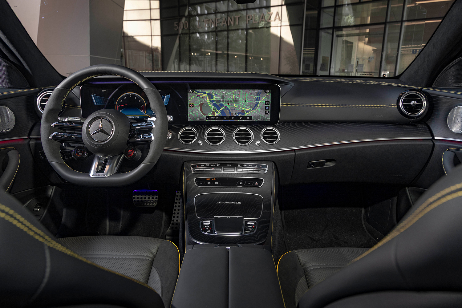 The dash inside the new 2021 Mercedes-AMG E63 S 4MATIC Station Wagon. A little overkill, but still a great driving experience.