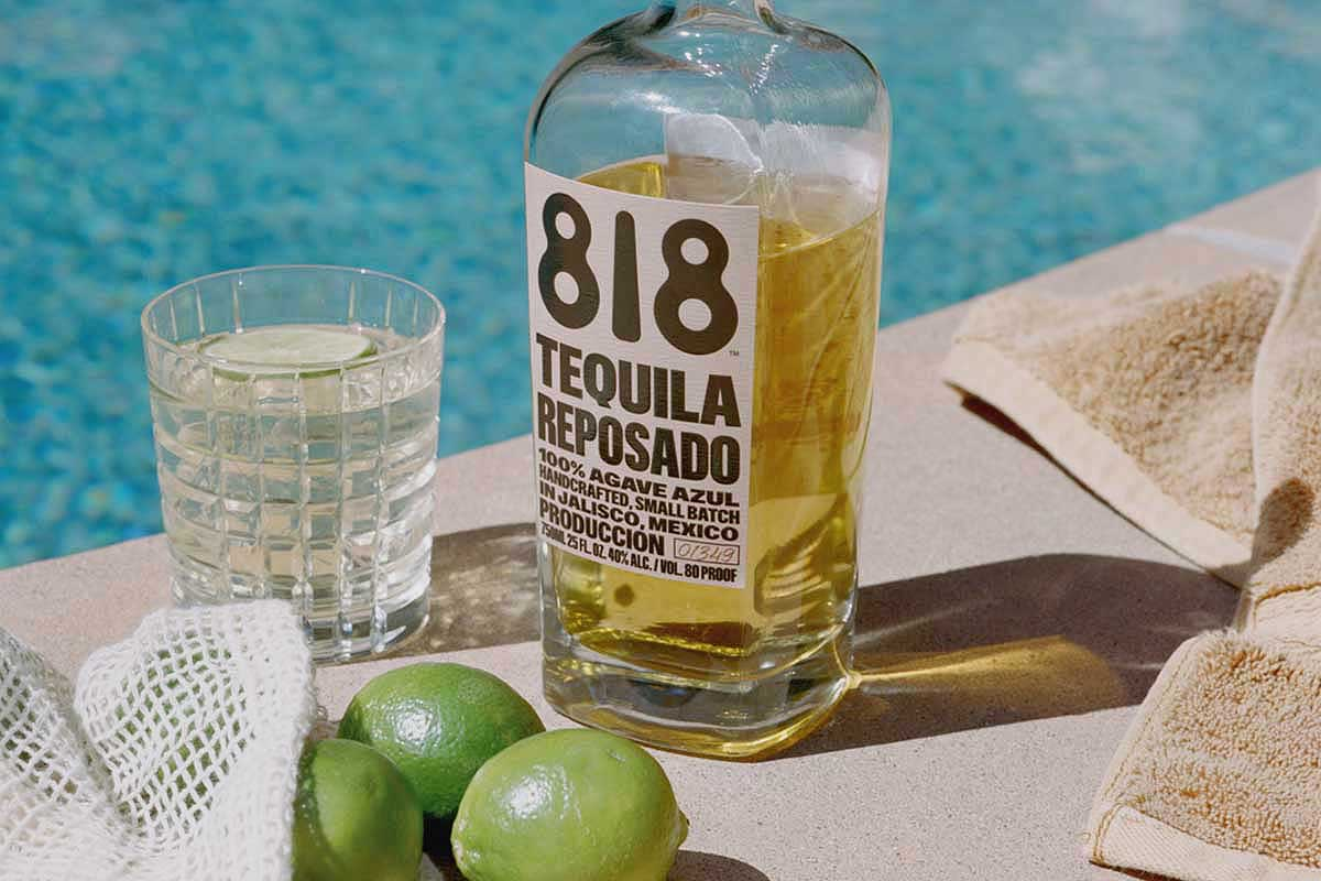 a bottle of 818 Reposado Tequila