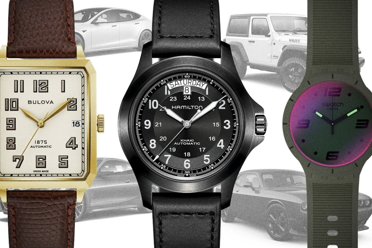 Watches from Bulova, Hamilton and Swatch overlaid over cars from Tesla, Jeep, Dodge and BMW. They're all part of our favorite watch and car pairings.