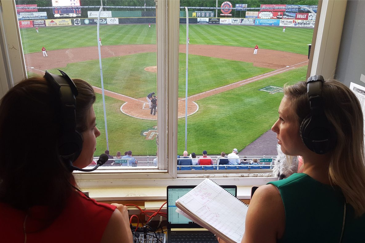 Broadcasters Melanie Newman and Suzie Cool of the Salem Red Sox, single-A affiliate of the Boston Red Sox, prior to a Carolina League game on April 24, 2019 against the Potomac Nationals, single-A affiliate of the Washington Nationals, at Northwest Federal Field at Pfitzner Stadium in Woodbridge, VA.