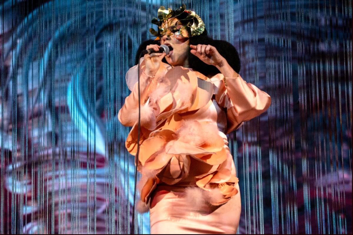 """Björk performs onstage during her """"Cornucopia"""" tour at The O2 Arena on November 19, 2019 in London, England."""