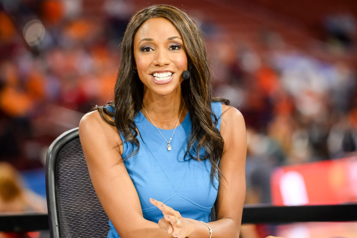 Former ESPN reporter Maria Taylor on the job in 2017.