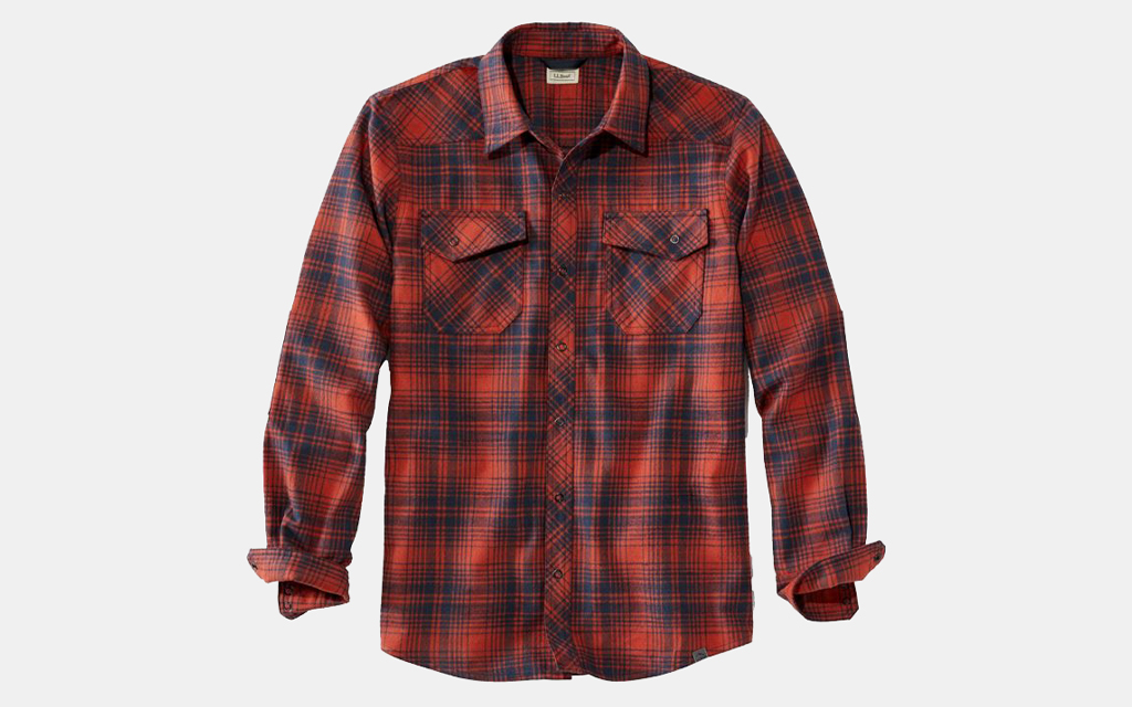 L.L. Bean Overland Flannel in red and black stripes