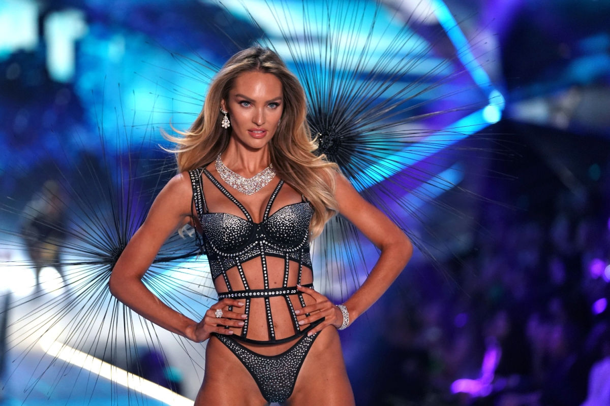 South African model Candice Swanepoel walks the runway at the 2018 Victoria's Secret Fashion Show on November 8, 2018 at Pier 94 in New York City.