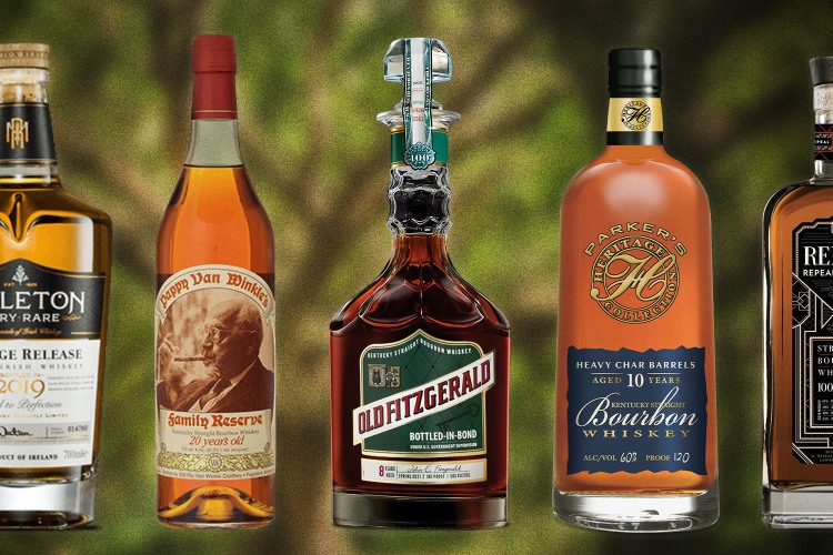 Bottles of rare whiskies that are released every year, including Pappy Van Winkle, Old Fitzgerald and Parker's Heritage