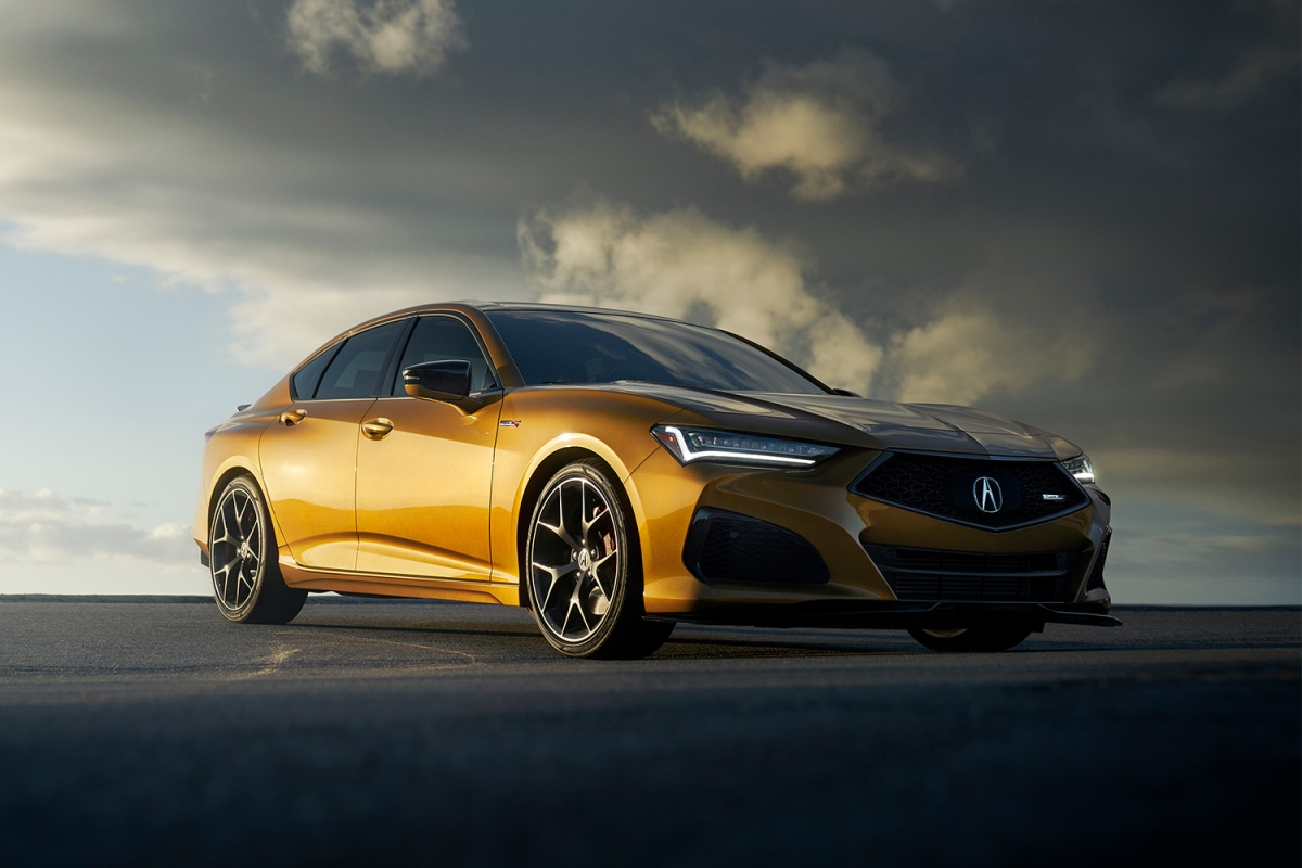 The 2021 Acura TLX Type S, a powerful new four-door sedan in gold. Can this be the starting point for Acura's electric car transformation.