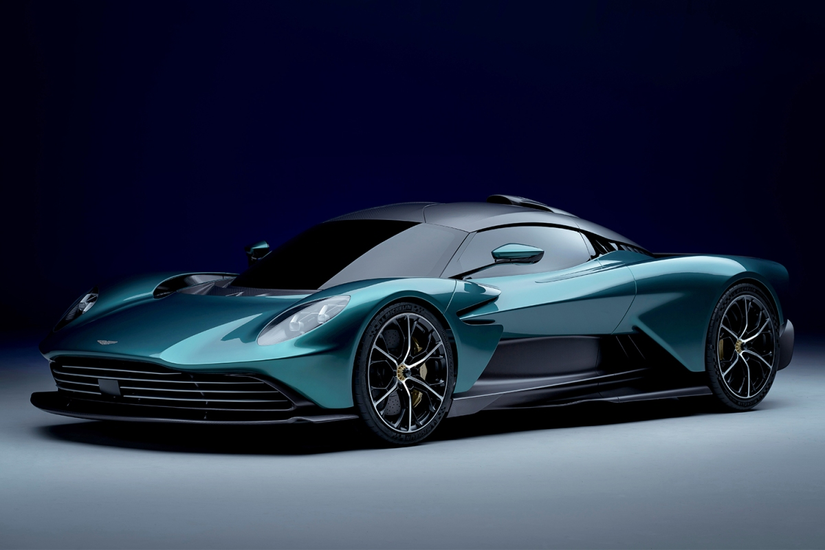 """The front view of the new Aston Martin Valhalla supercar. The hypercar concept version will star in the new James Bond movie """"No Time to Die."""""""