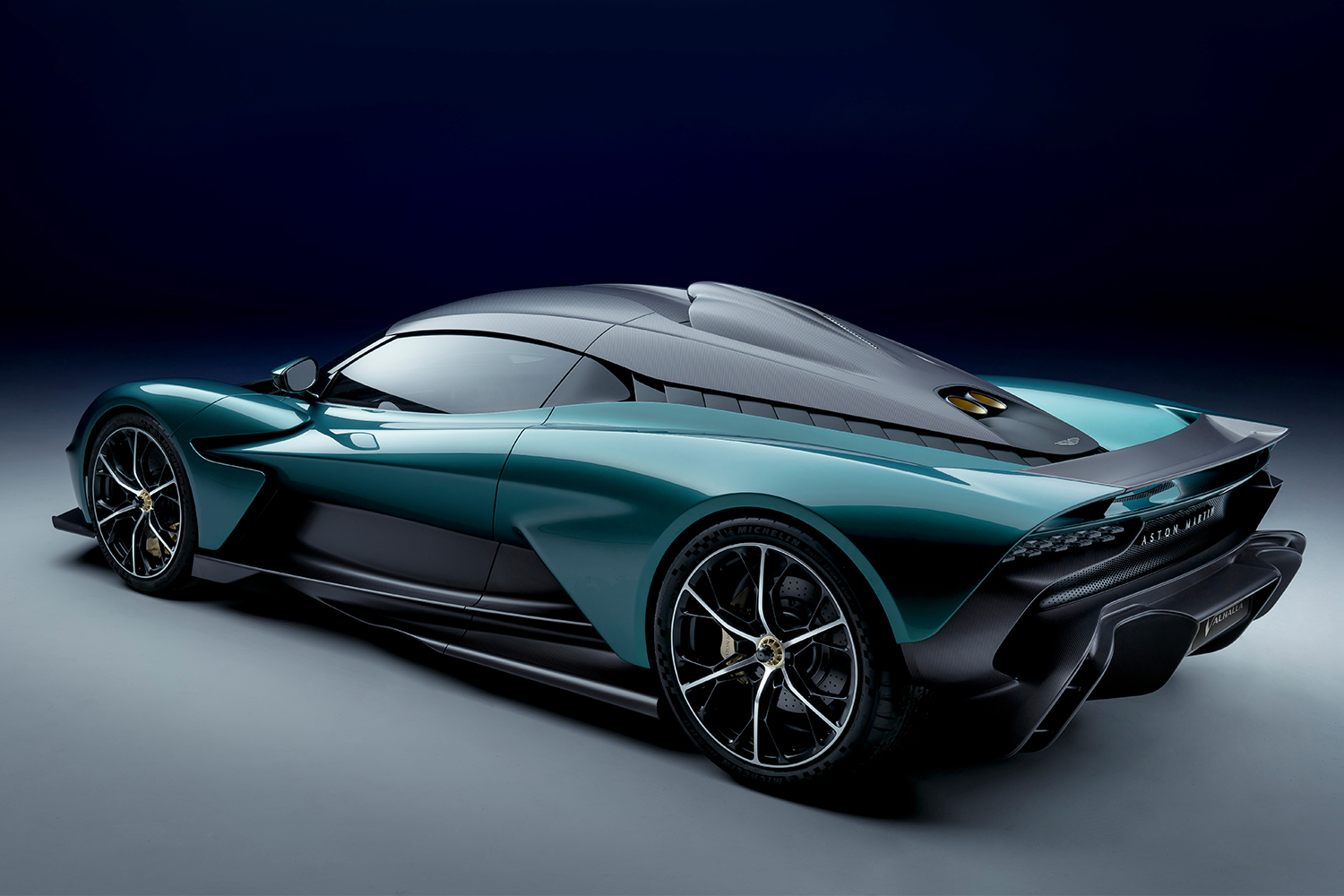 """The new Aston Martin Valhalla supercar shot in a studio. The concept version will star alongside James Bond in """"No Time to Die."""""""