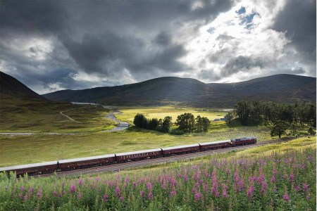 The Royal Scotsman train, which hosts four-night Scotch Malt Whisky Tours