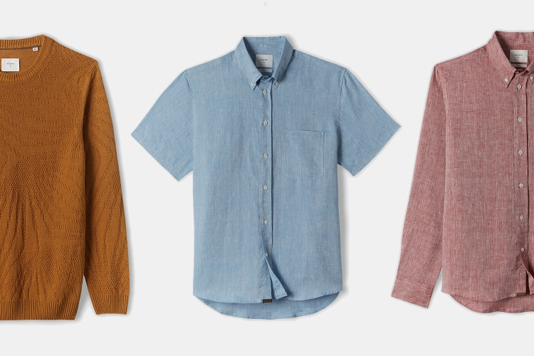Billy Reid Mustard Linen Sweater, Short-Sleeve Blue Linen Button-Down, Billy Reid Long-Sleeve Linen Button-Down in Red