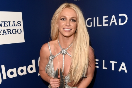 Britney Spears backstage at the 29th Annual GLAAD Media Awards at The Beverly Hilton Hotel on April 12, 2018 in Beverly Hills, California.