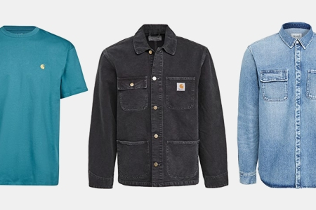 Carhartt WIP T-Shirt, Chore Jacket and Denim Button-Down, all of which are on sale at East Dane
