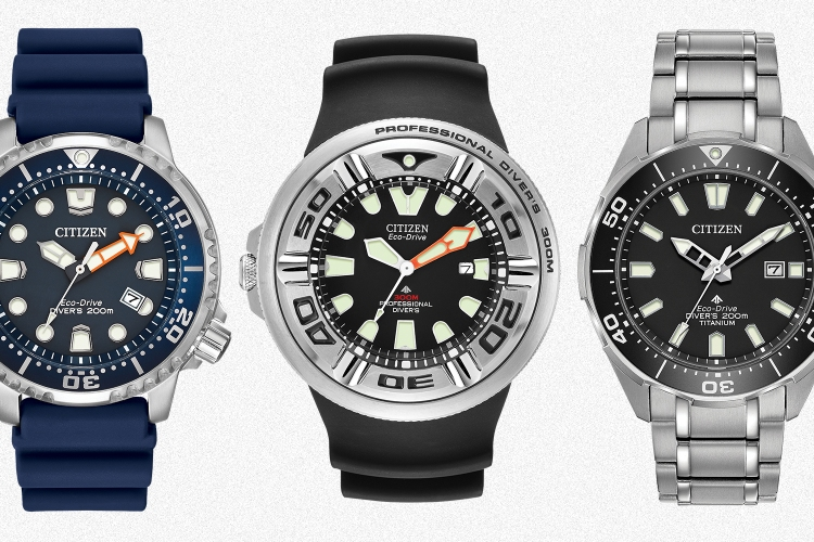 Three different men's dive watches from Citizen