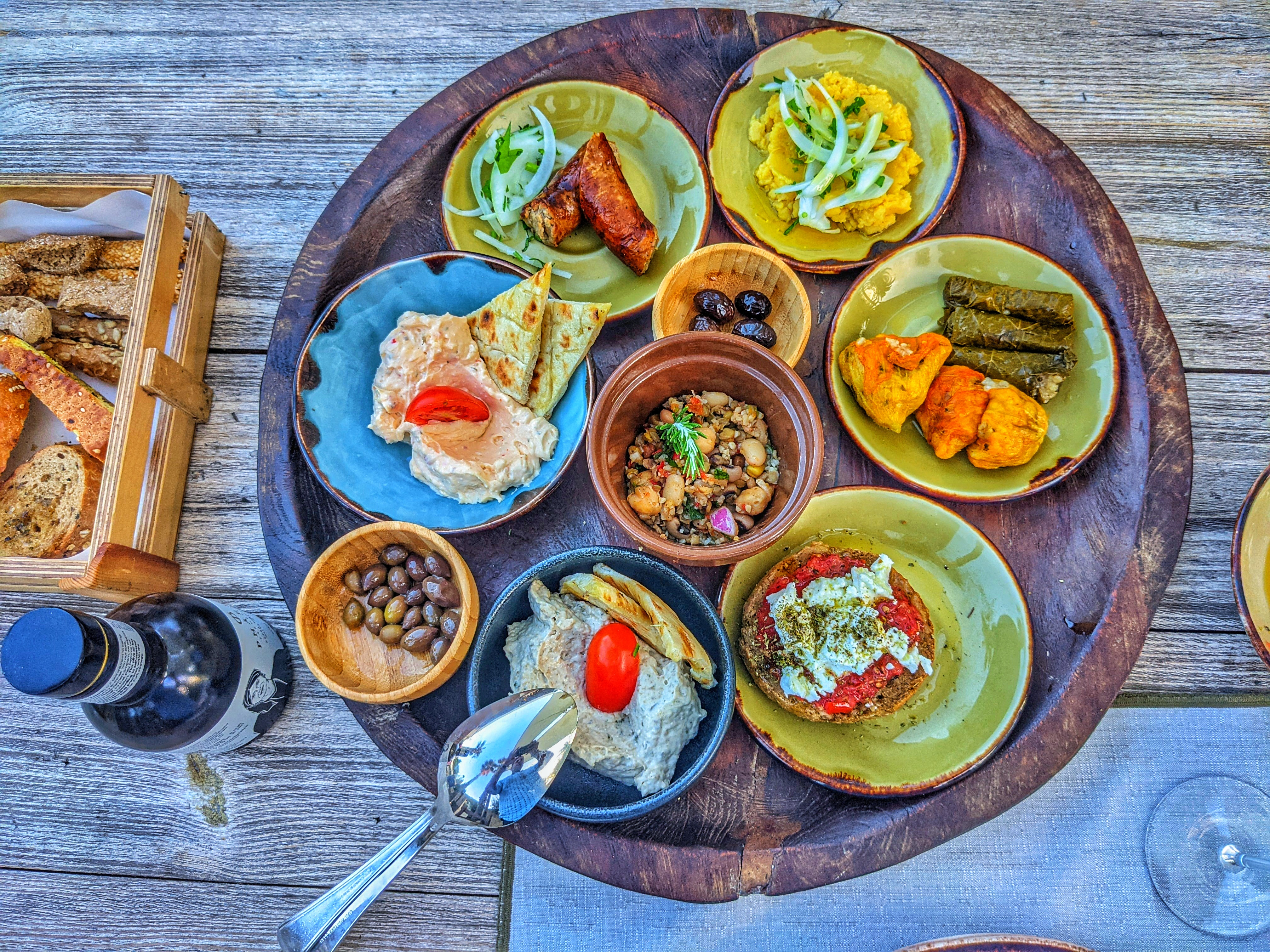 A traditional plate of meze in Crete