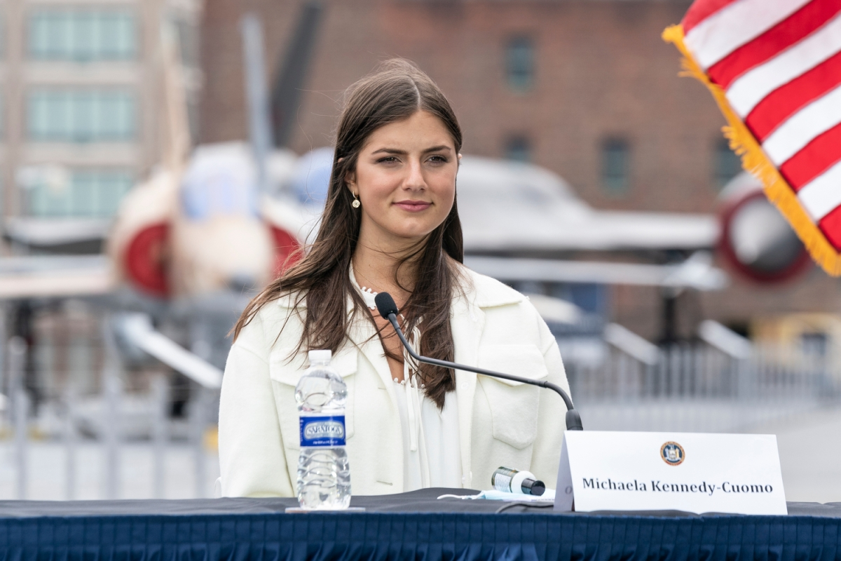 Michaela Kennedy-Cuomo attends Governor Cuomo Announcement and Briefing on COVID-19 Response on Intrepid Sea, Air and Space Museum on Memorial Day. She recently identified as a demisexual during an interview.